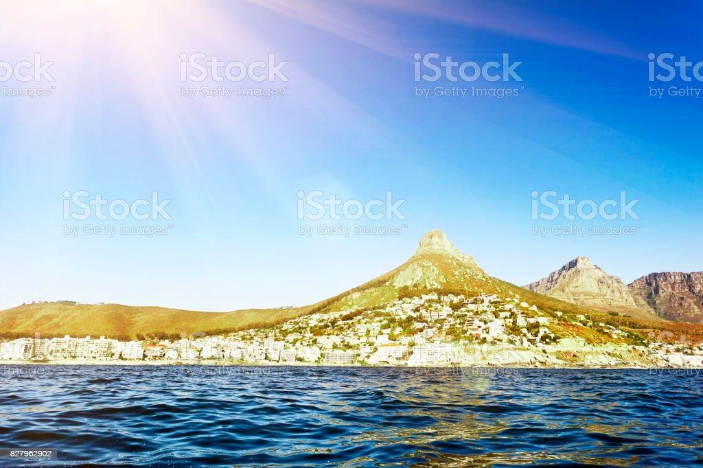 Looking across Table Bay towards upmarket residential suburbs stock photo