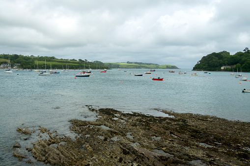 Looking across the Helford Estuary from the village of Helford towards Helford Passage, Cornwall, UK