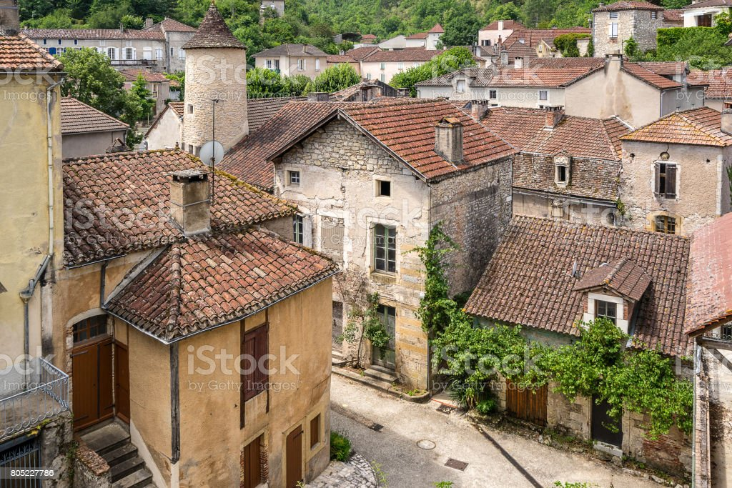 Looking across the rooftops of Albas in the Lot Valley stock photo