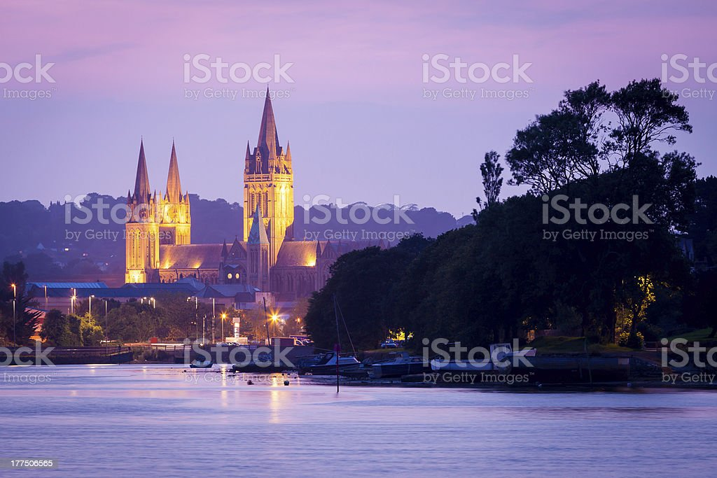 Looking across the water at Truro castle in Malpas stock photo