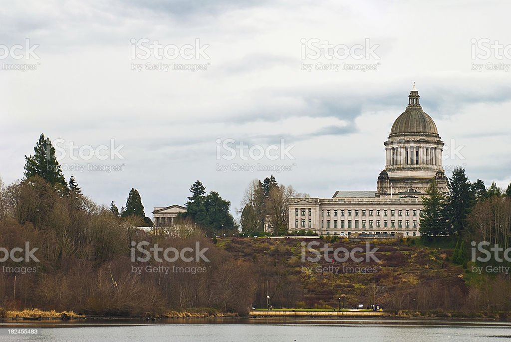 Looking across water at the Washington state capitol building stock photo