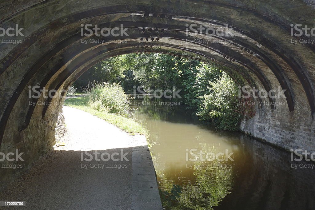 looking along the canal tow path under an old bridge stock photo