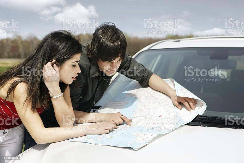 Looking at a Map royalty-free stock photo