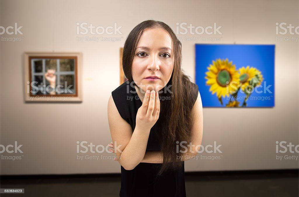 looking at a work of art stock photo