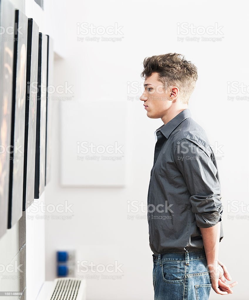 Looking at Art Gallery Pictures royalty-free stock photo