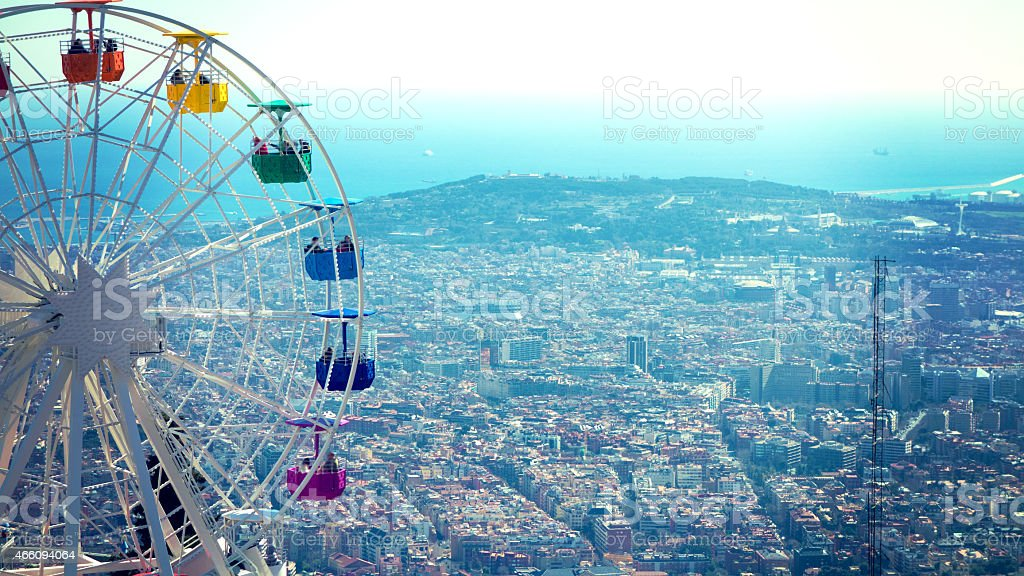 Looking at Barcelona from Mount Tibidabo stock photo