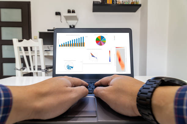 CEO looking at BI charts on a laptop - home office concept stock photo
