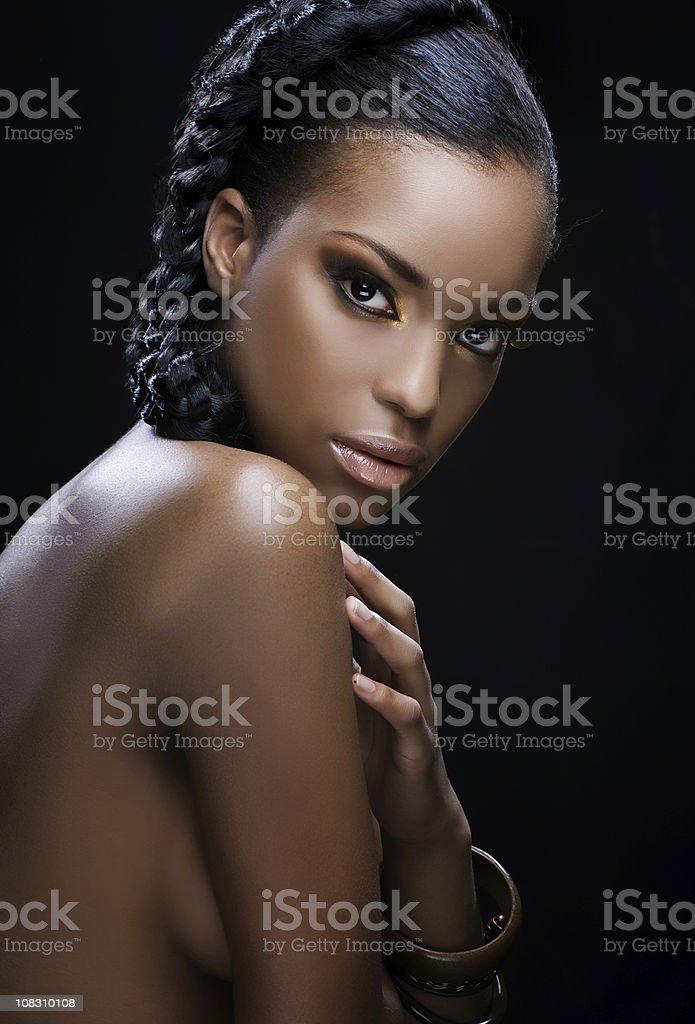 looking at camera young black model royalty-free stock photo