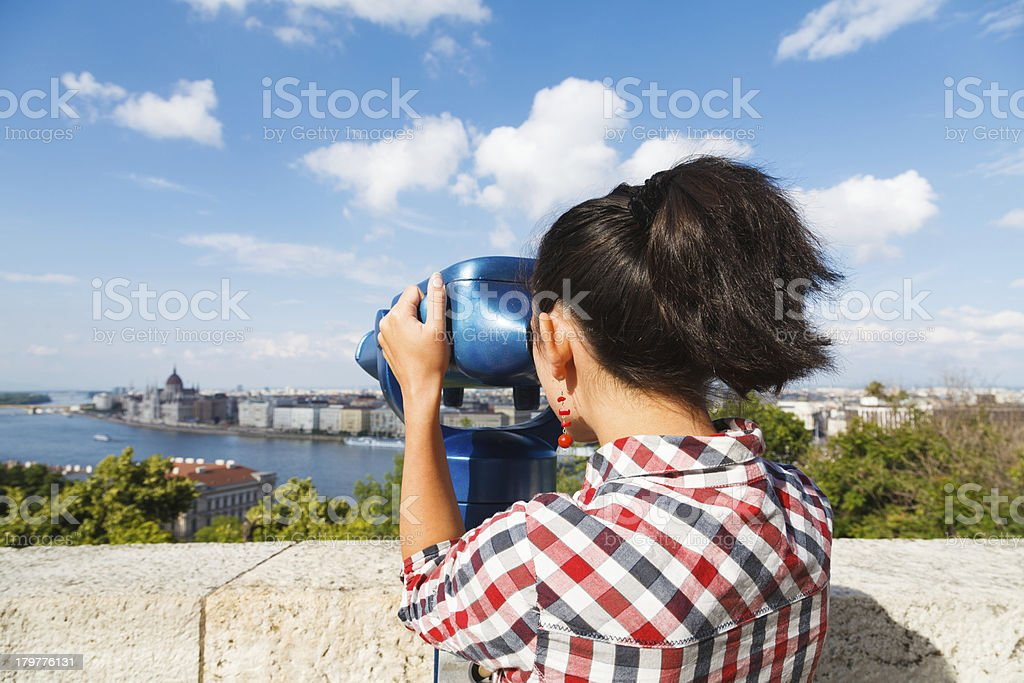 Looking at Danube and Budapest royalty-free stock photo