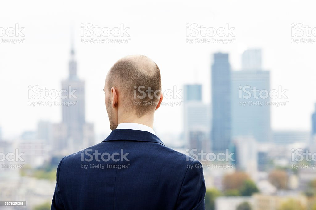 Looking at downtown stock photo