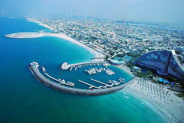 Looking at Dubai - View from Burj al Arab Hotel stock photo