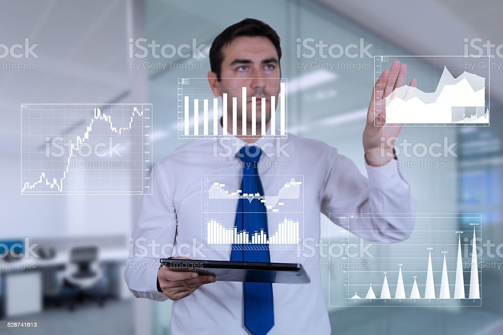Looking at finance stock photo