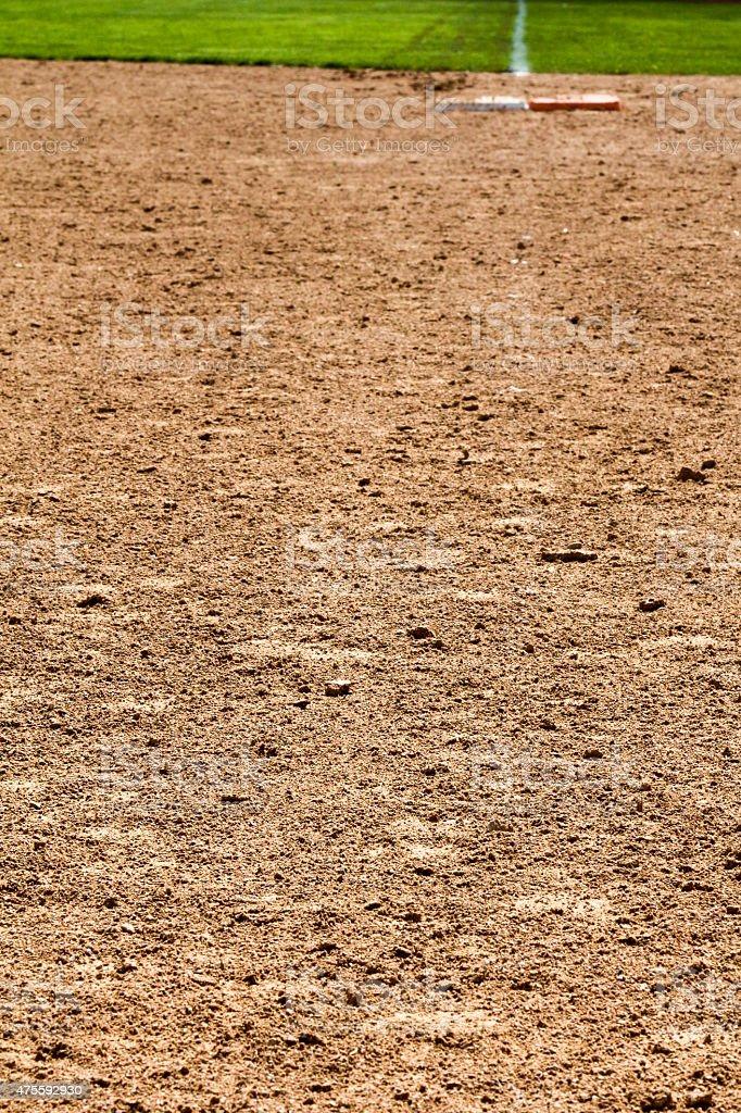 Looking at first base at a softball diamond stock photo