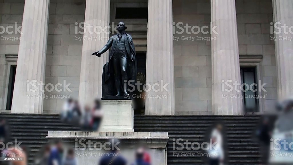 Looking At George Washington Statue In Wall Street.NYC.USA stock photo