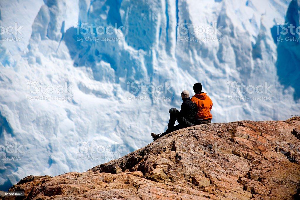 Looking at glacier stock photo
