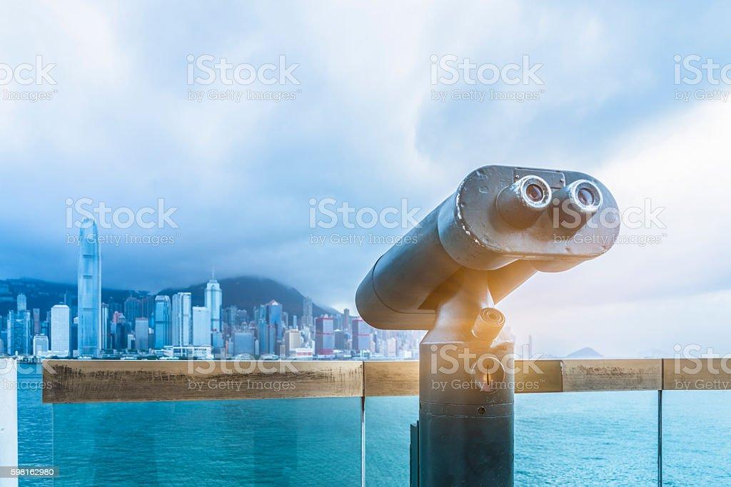 Looking at hong kong from a tourist binocular stock photo