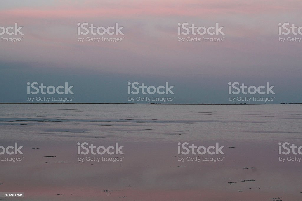 Looking at horizon over water during twilight; Camargue, France; Copy...
