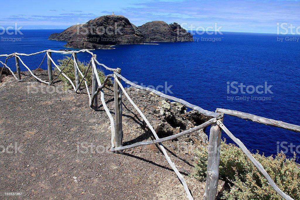 Looking at Ilheu de Ferro in Porto Santo stock photo