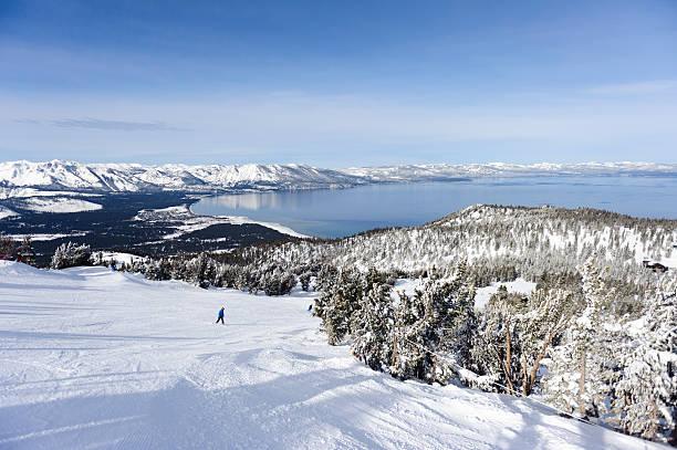blick auf see tahoe von der himmlische ski resort - lake tahoe winter stock-fotos und bilder