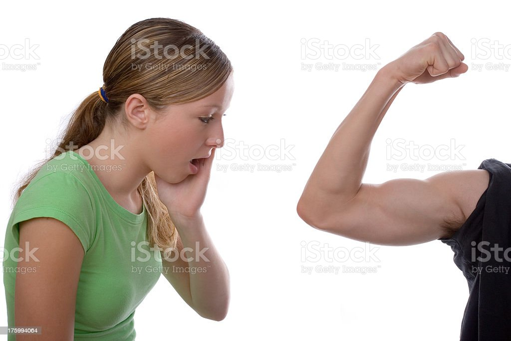 Looking at muscles. royalty-free stock photo