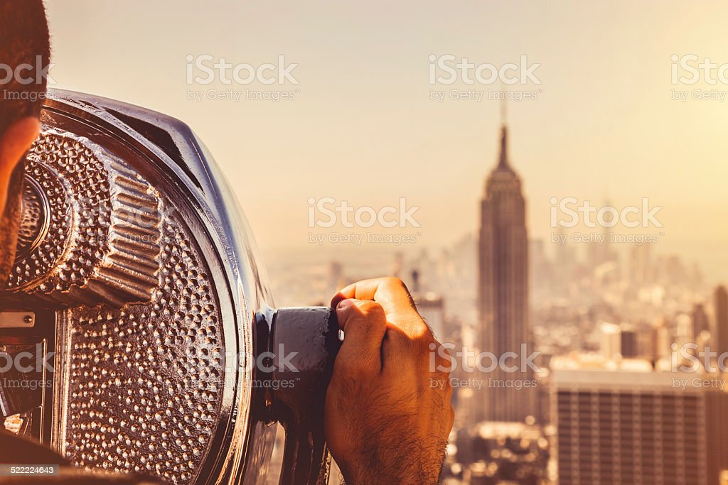 Looking at New York skyline stock photo