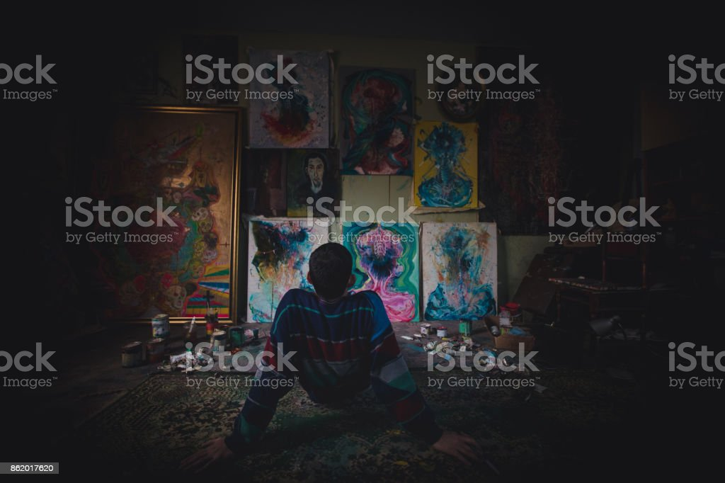 Looking at paintings stock photo