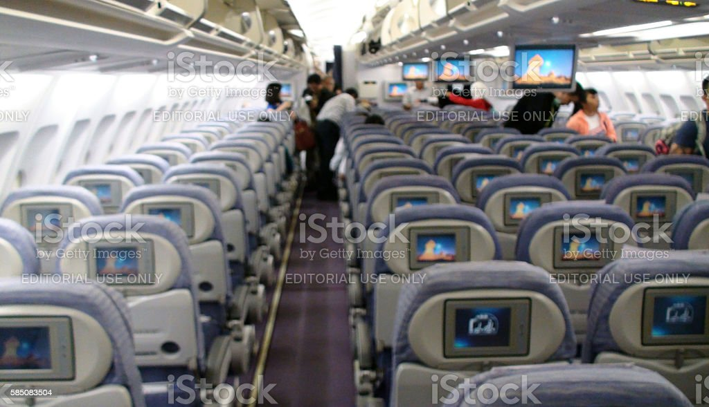 Looking At Passengers Coming Into China Airlines Airplane stock photo