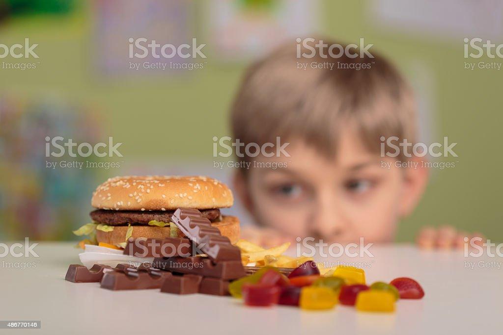 Looking at snacks stock photo