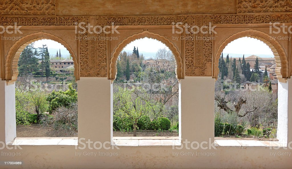 Looking at the Alhambra complex stock photo