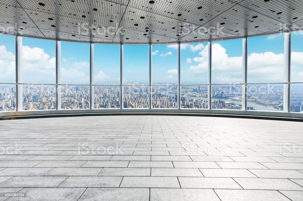 Looking through the window to the modern city skyline