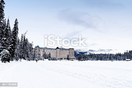 istock Looking at the Fairmont Chateau Lake Louise in winter,Banff National Park,Alberta,Canada 641760868