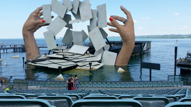 Looking at the floating stage of Carmen, the opera stock photo