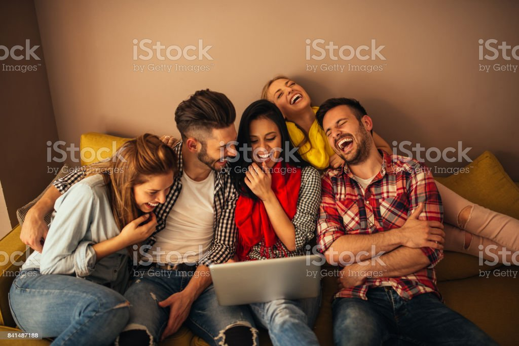 Looking at the laptop stock photo