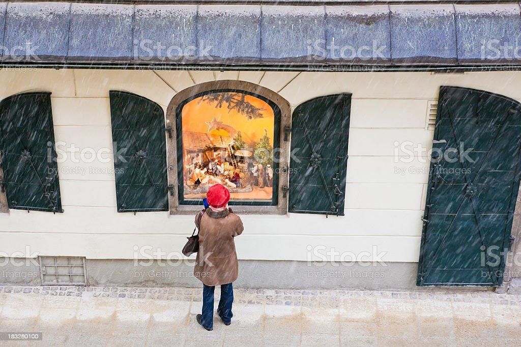 Looking at the Nativity Scene royalty-free stock photo