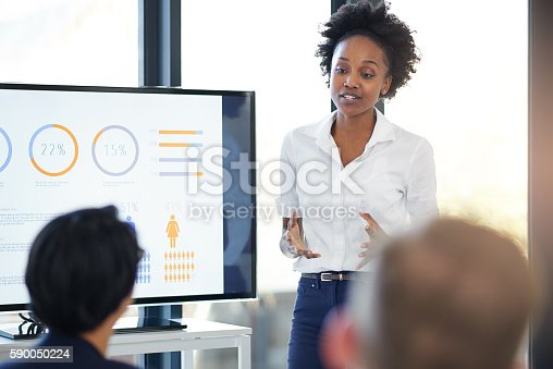 Cropped shot of a businesswoman giving a presentation in the boardroom