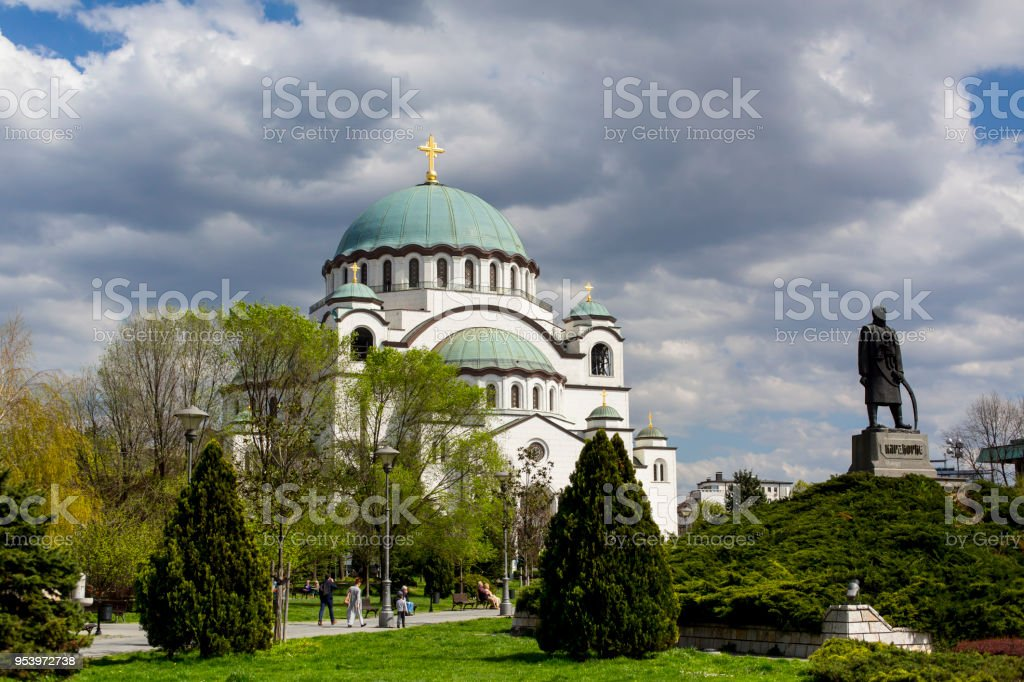 Looking at the Saint Sava cathedral and monument of Karageorge Petrovitch stock photo