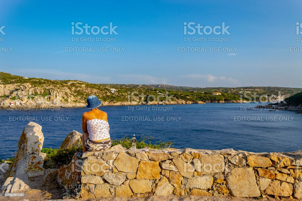 Looking at the sea at Santa Teresa di Gallura (Olbia-Tempio, Sardinia, Italy). stock photo