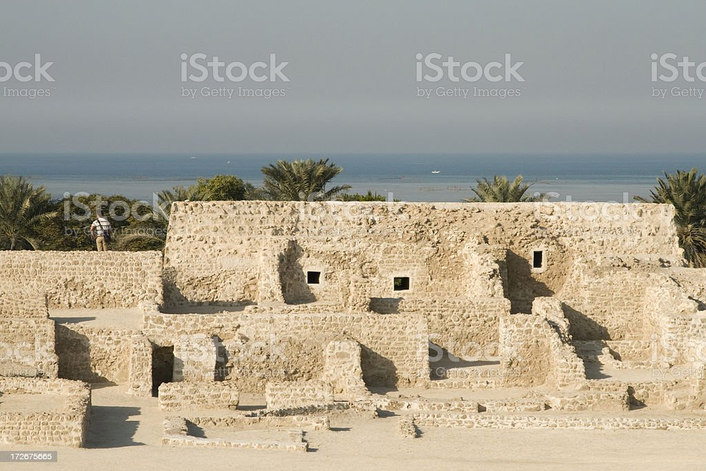 Looking at the sea from Bahrain Fort stock photo