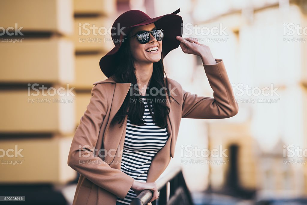 Looking at the sky with smile. stock photo