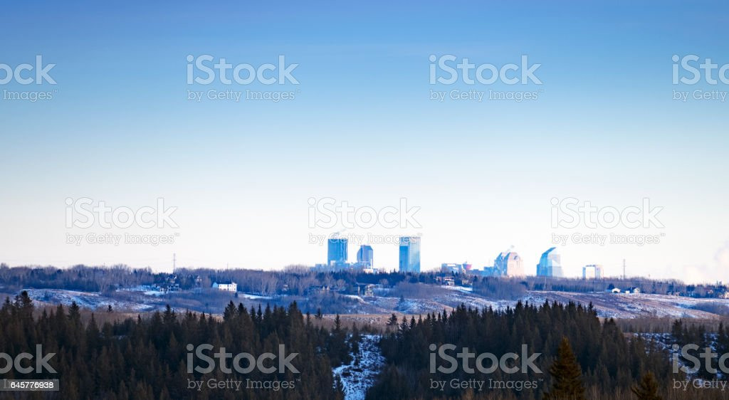 Looking at the skyline of the city of Calgary from the Glenbow Ranch Provincial Park,located between the city of Calgary and the town of Cochrane in Alberta,Canada stock photo