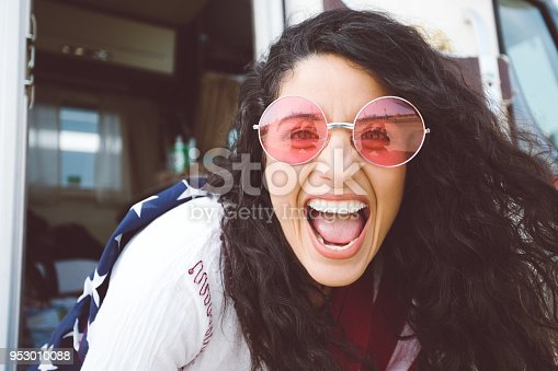 istock Looking at world through rose colored glasses 953010088