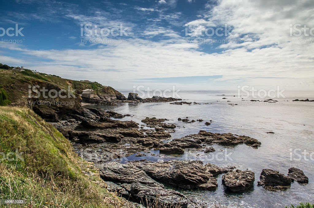 Looking back at lizard point cornwall england stock photo