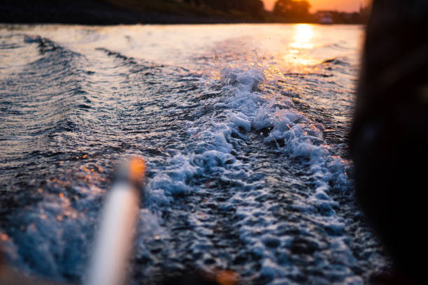 Looking back towards the sunset over the water Looking back towards the sunset over the water in Germany over the river. Wakes from the boat in the water guiding towards the sunset. sailing dinghy stock pictures, royalty-free photos & images