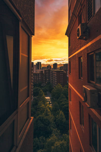 Looking Between Two Apartment Buildings at Cityscape Urban View Sunset Orange Afternoon Tight Vertical Space – Foto