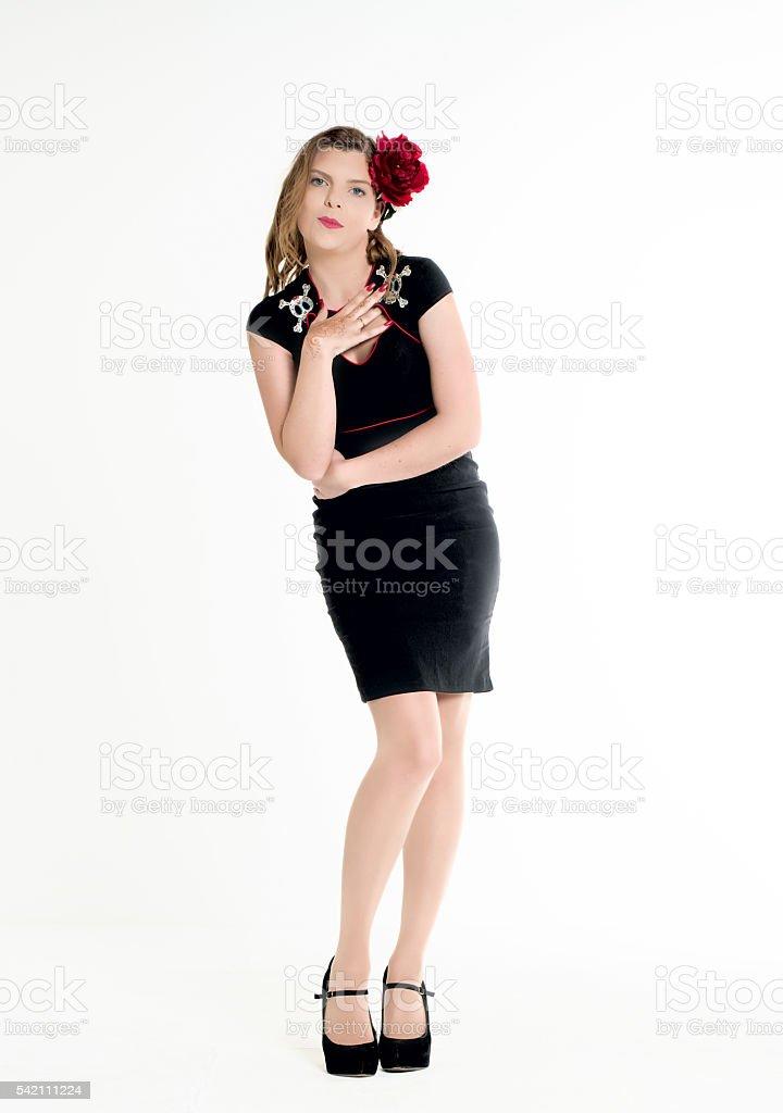 looking black dress stock photo