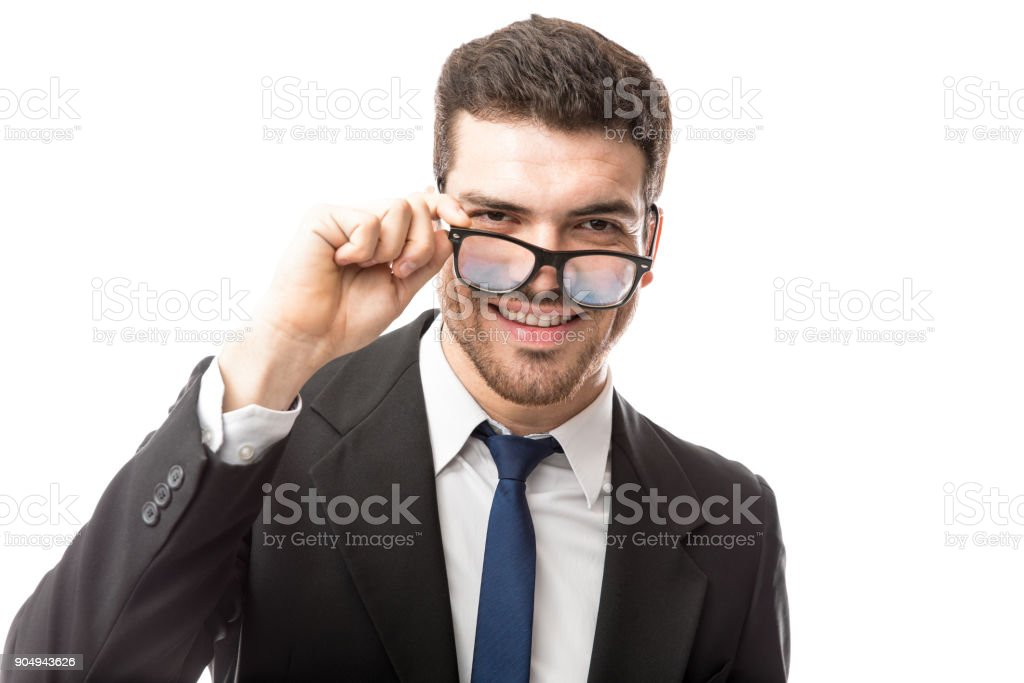 Looking confident with glasses stock photo