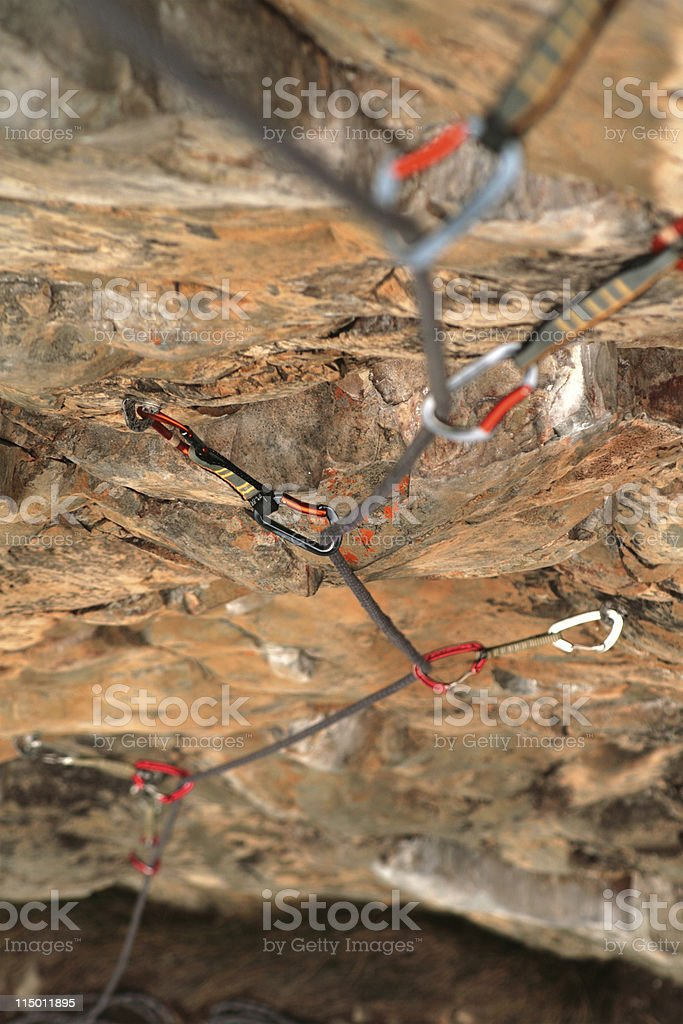 Looking down a climbing rope royalty-free stock photo