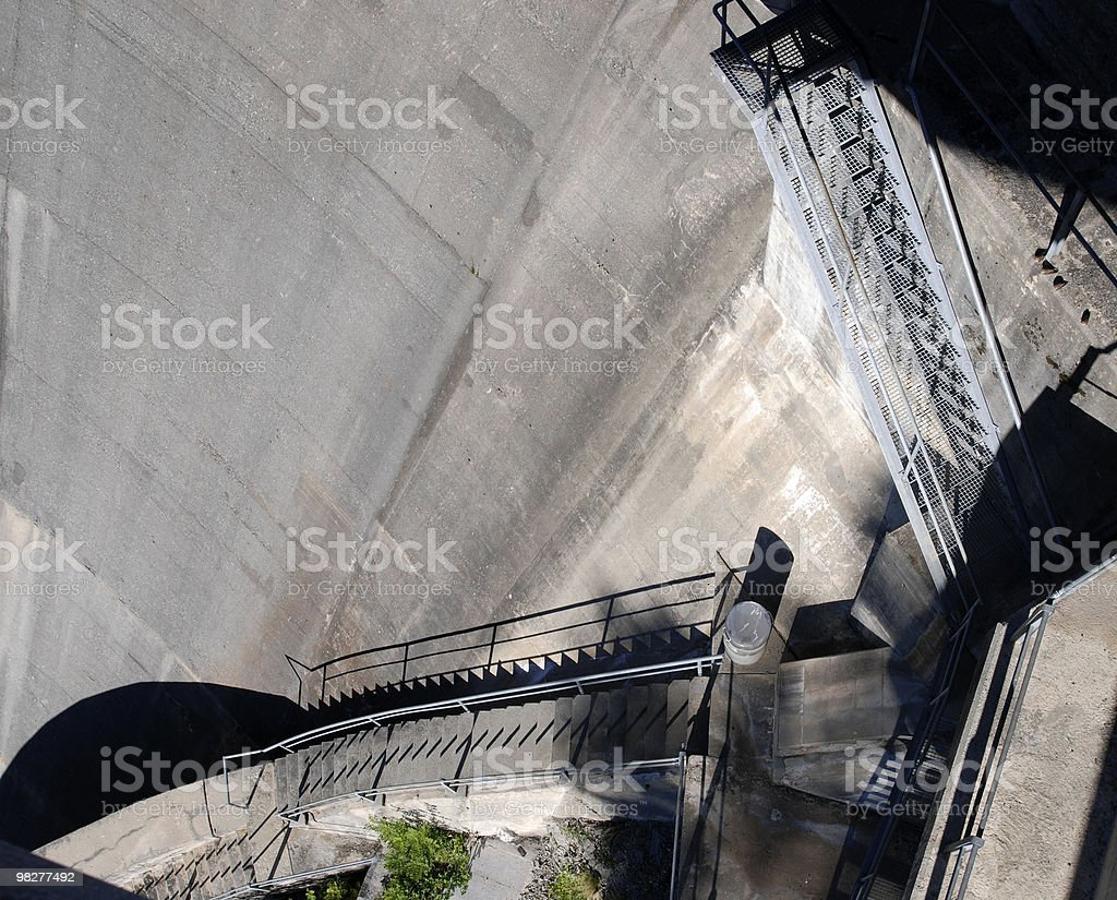 looking down a concrete dam with staircase royalty-free stock photo