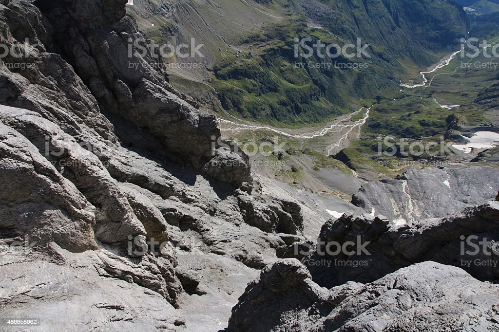 Looking down a high cliff on the Titlis stock photo