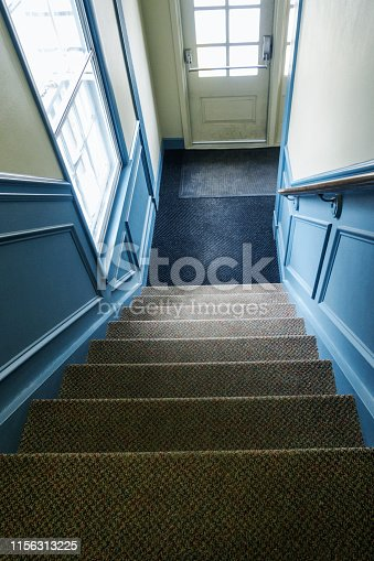 Looking down a steep carpeted staircase to the lower floor entryway and outside entrance door.